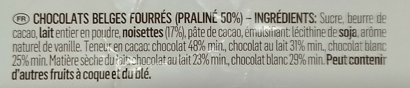 Artisanal Belgian Chocolates - Ingredients