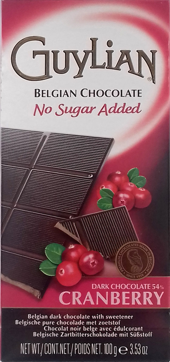 Belgian Dark Chocolate Cranberry No Sugar Added 54% - Producto