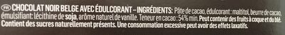 Guylian Chocolate Belgian Dark Chocolate No Added Sugar - Ingrédients - fr