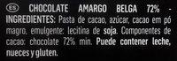 Belgian Chocolate Dark 72% - Ingredientes
