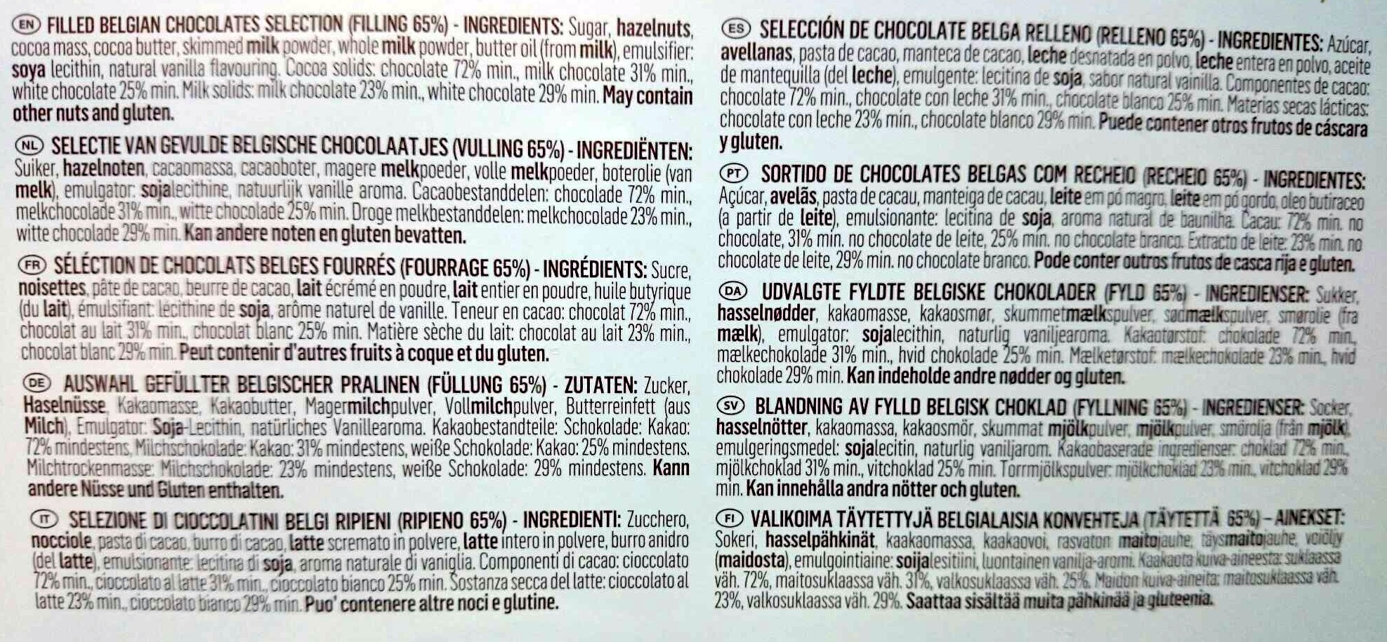 Guylian Sea Shells Selection - Ingredients