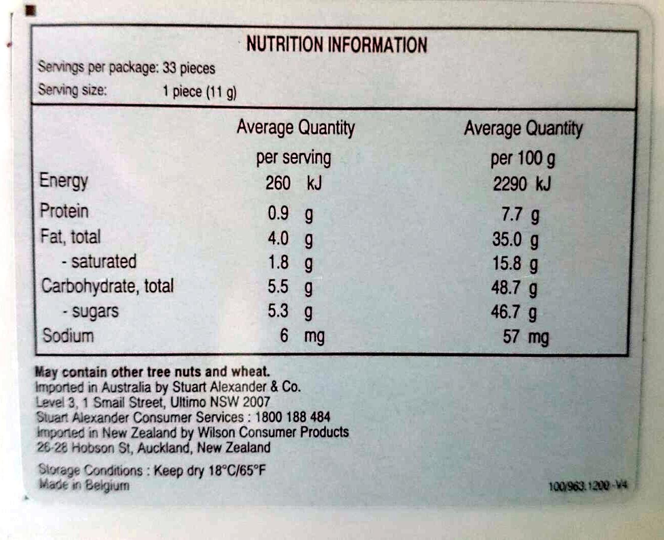 Guylian Sea Shells Selection - Nutrition facts