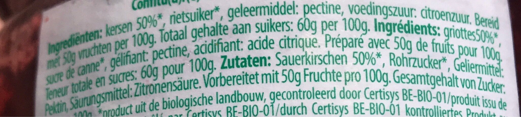 Confiture griottes - Ingrediënten