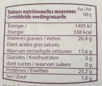 Fromage d'abbaye Val-Dieu - Voedingswaarden