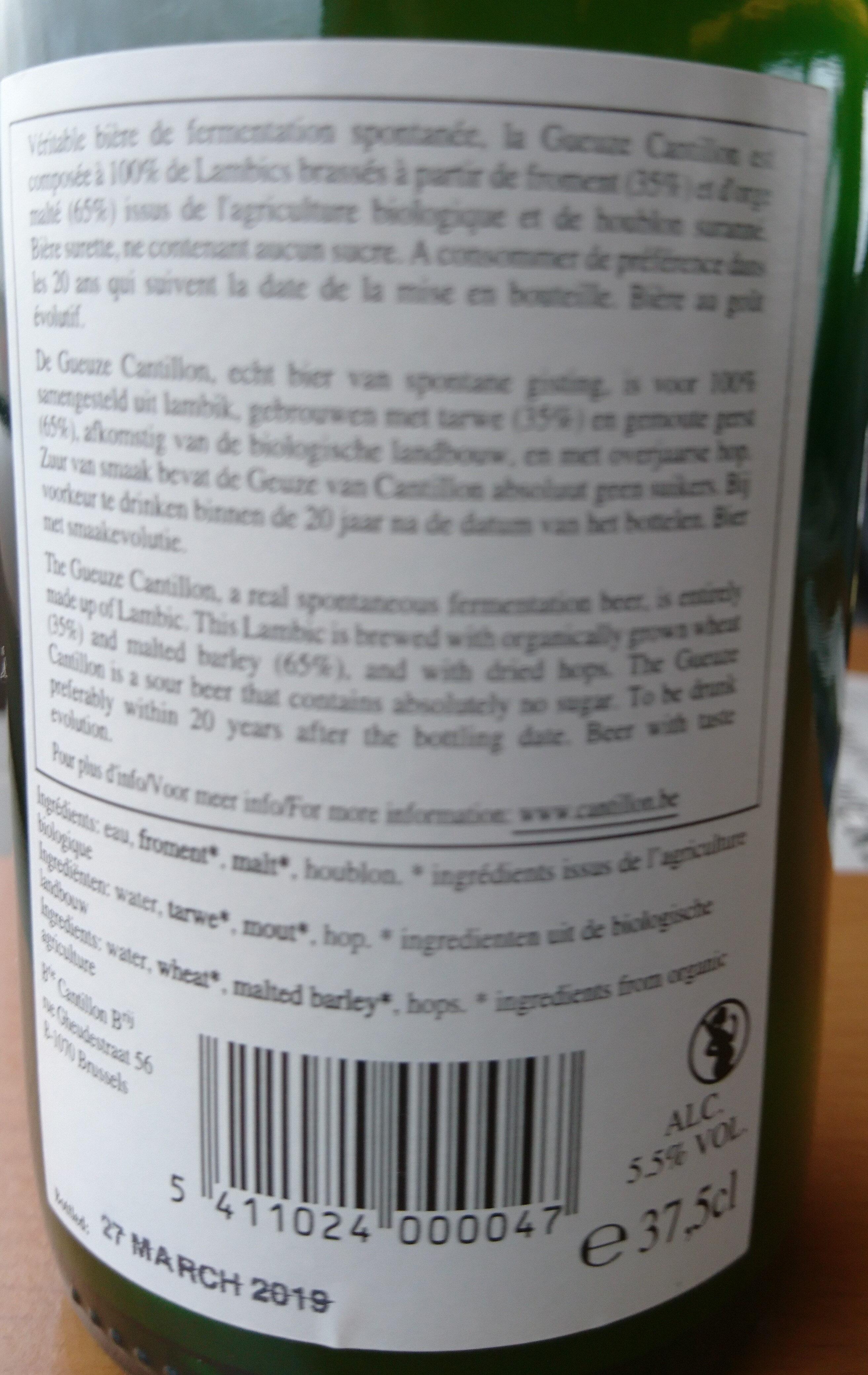 Geuze 100% Lambic Bio - Ingrediënten - en
