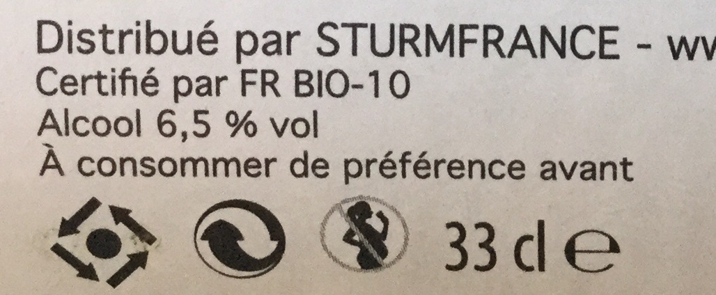 Bière bio blonde sans gluten - Valori nutrizionali - fr