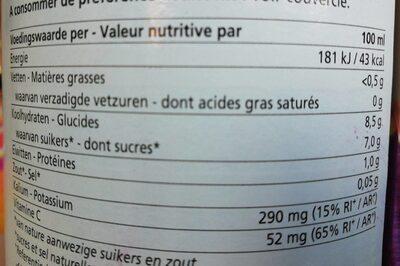 Jus de betterave rouge - Voedingswaarden - en
