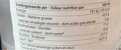 Jus de pomme - Voedingswaarden - fr