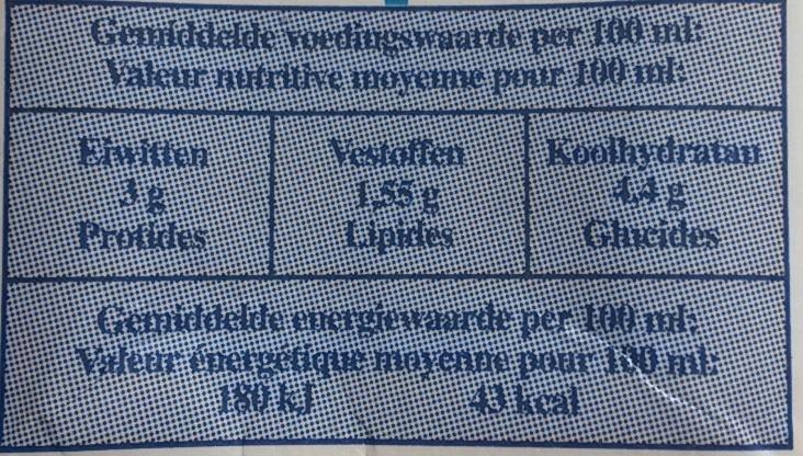 Lait demi-écrémé U.H.T. - Informations nutritionnelles - fr