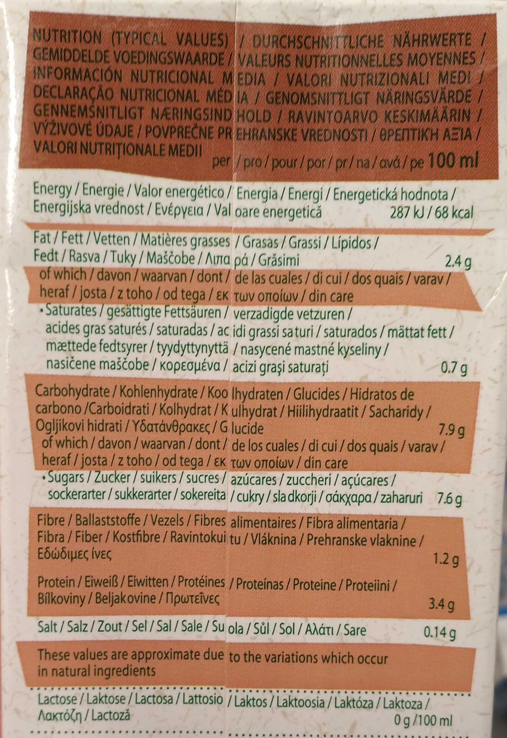 Soya chocolate - Nutrition facts - nl