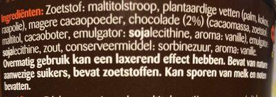 Pâte à tartiner chocolat noir sans sucre 400g - Ingrediënten - nl