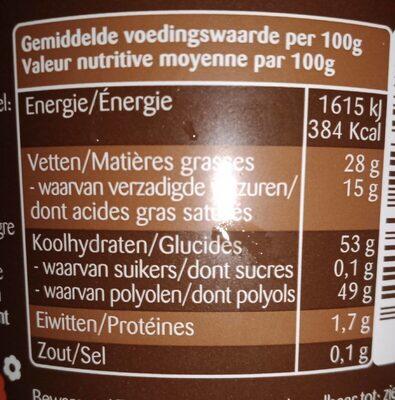 Pâte à tartiner chocolat noir sans sucre 400g - Voedingswaarden - nl