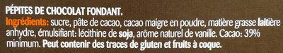 Pépites au chocolat noir - Ingrédients - fr