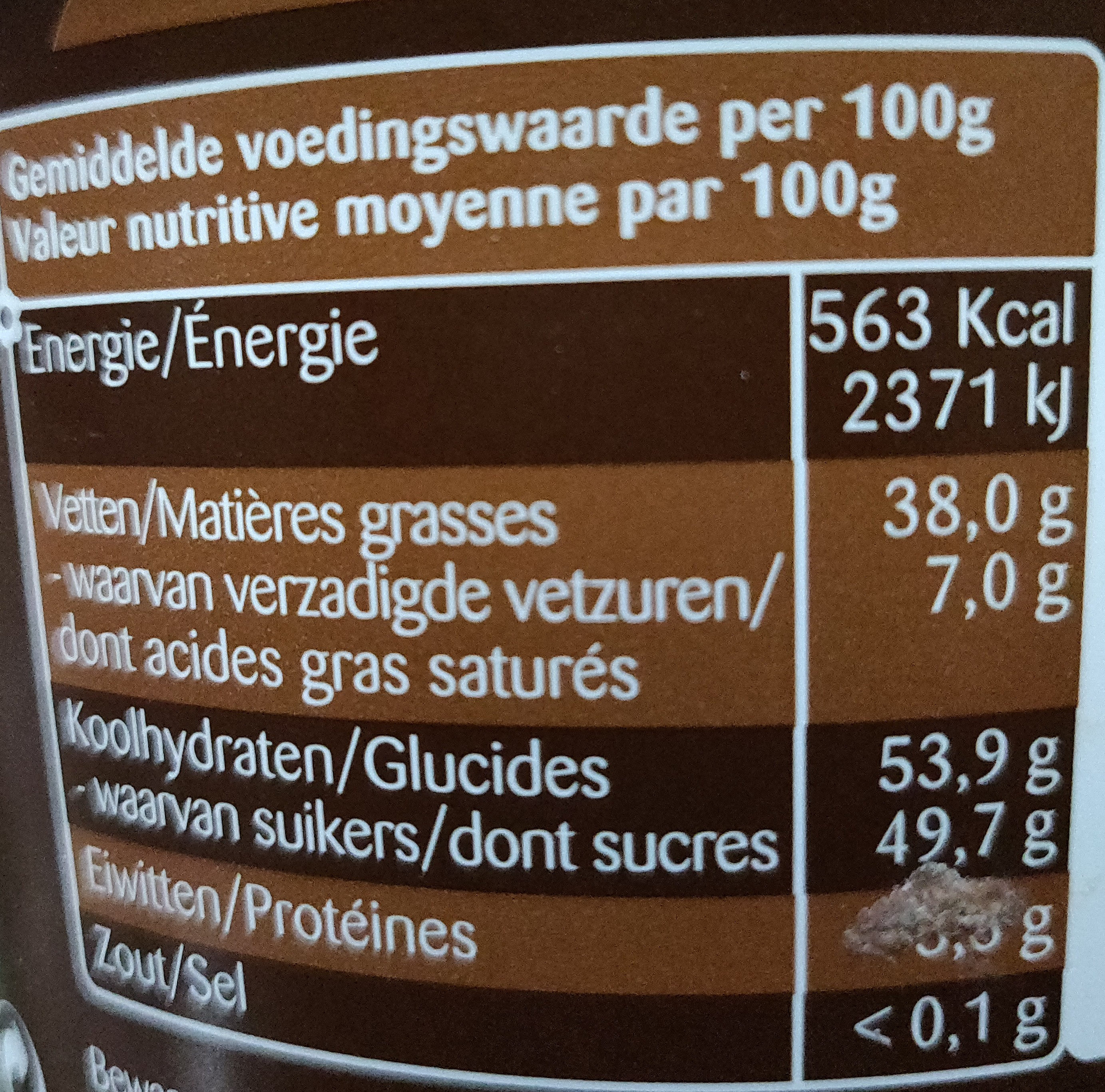 Chocopasta hazelnoten Boerinneke 400G - Informations nutritionnelles - fr