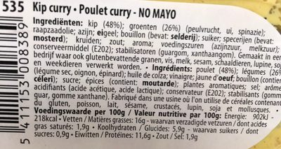 Poulet Curry No Mayo - Ingrédients - fr