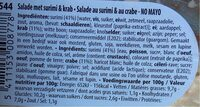 Crabe no mayo - Informations nutritionnelles - fr