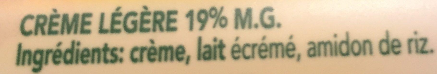 Crème 19% - Ingrédients - fr