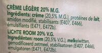 La crème légère 20% MG - Ingredients - fr