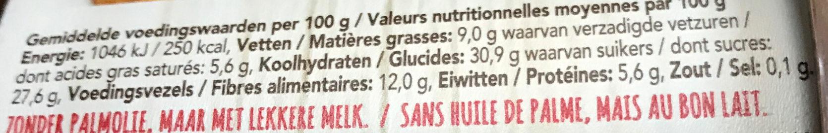 Choco pâte à tartiner au chocolat fondant - Voedingswaarden - fr