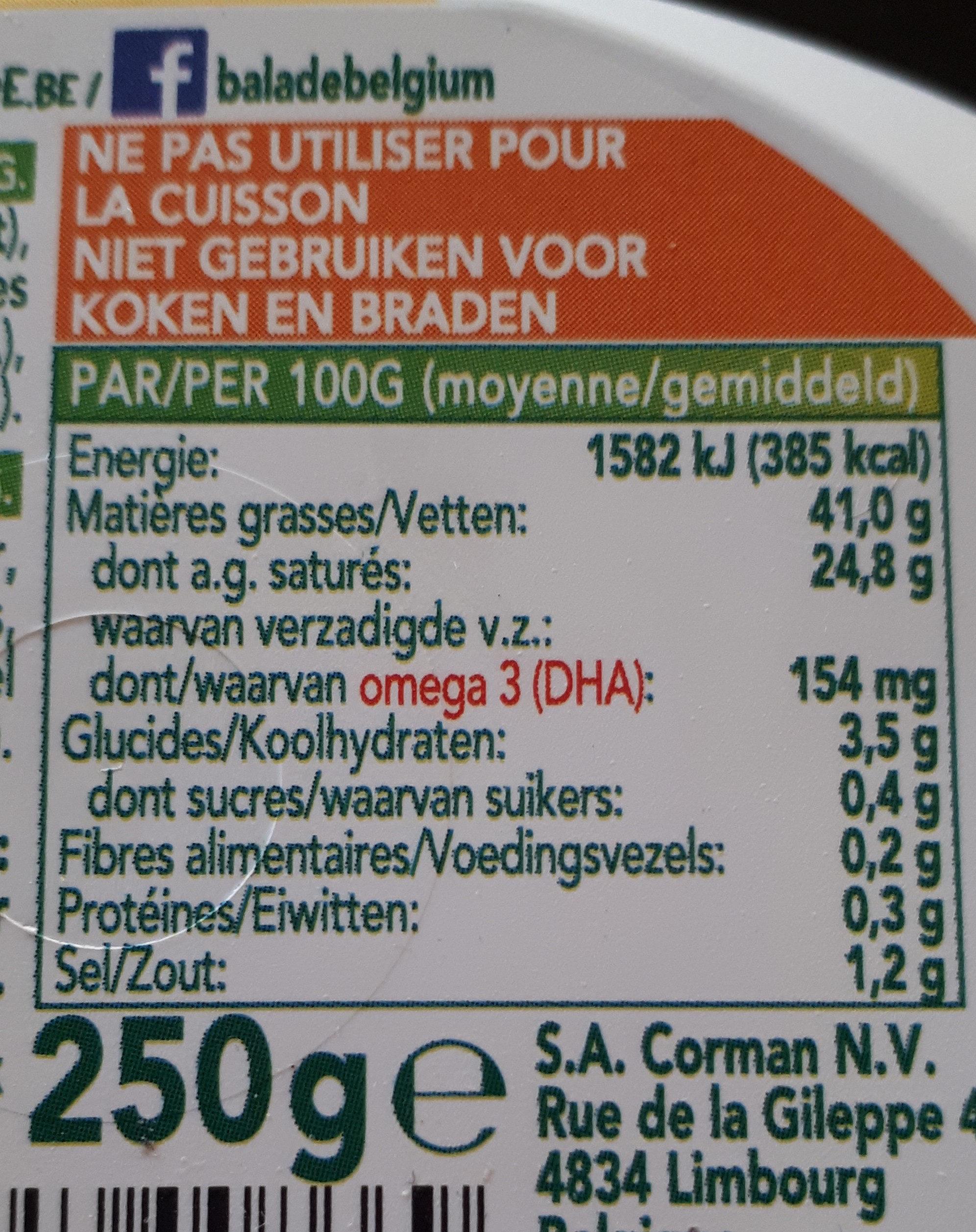 Beurre Balade Omega 3 Sel Marin - Voedingswaarden