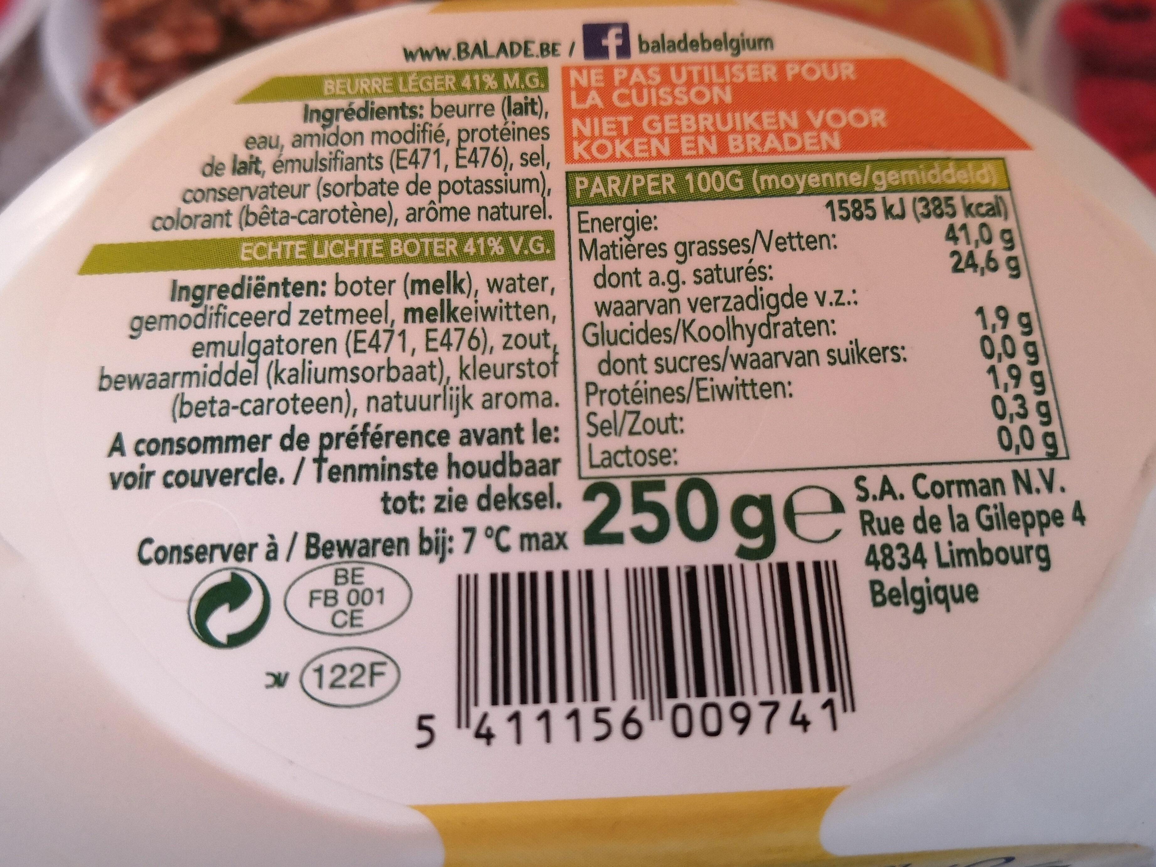 Beurre 0%Lactose - Nutrition facts - fr
