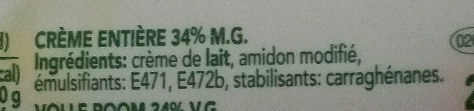 Crème Entière - Ingrediënten