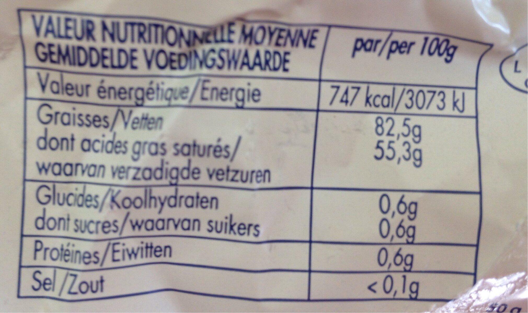 Beurre d'Ardenne Doux - Voedingswaarden - fr