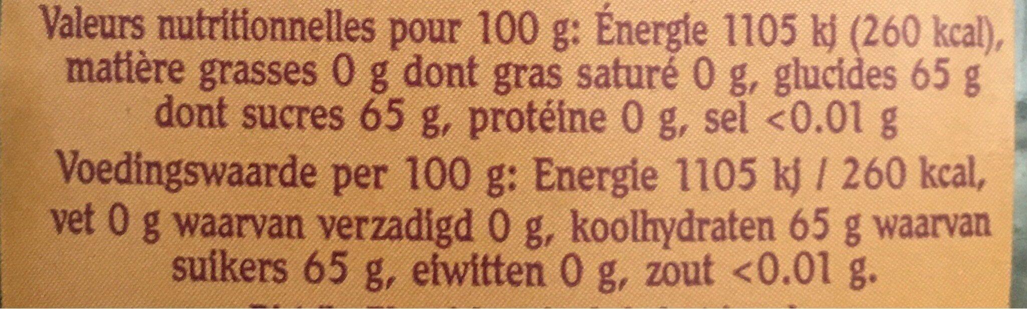 Sirop d'erable 100% pur - Valori nutrizionali - fr