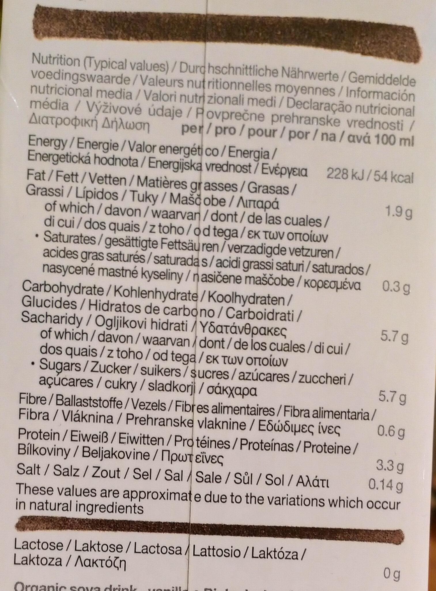 Soya vanilla - Nutrition facts - en