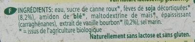 Organic bio dessert soya vanilla - Ingrediënten