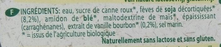 Organic - bio dessert soya vanilla - Ingredients - fr