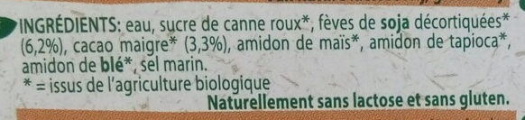 Organic bio dessert soya chocolate - Ingrédients - fr
