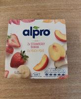 Alpro No Bits Strawberry & Banana and Peach & Pear Yogurts - Produit - en