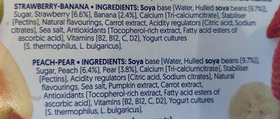 Alpro No Bits Strawberry & Banana and Peach & Pear Yogurts - Ingrédients - en