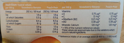 Alpro No Bits Strawberry & Banana and Peach & Pear Yogurts - Informations nutritionnelles - en