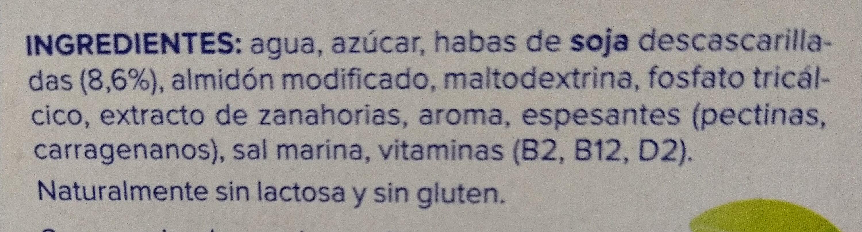 Postre de soja sabor vainilla - Ingrediënten