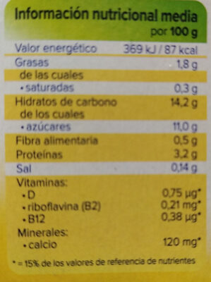 Postre de soja sabor vainilla - Nutrition facts