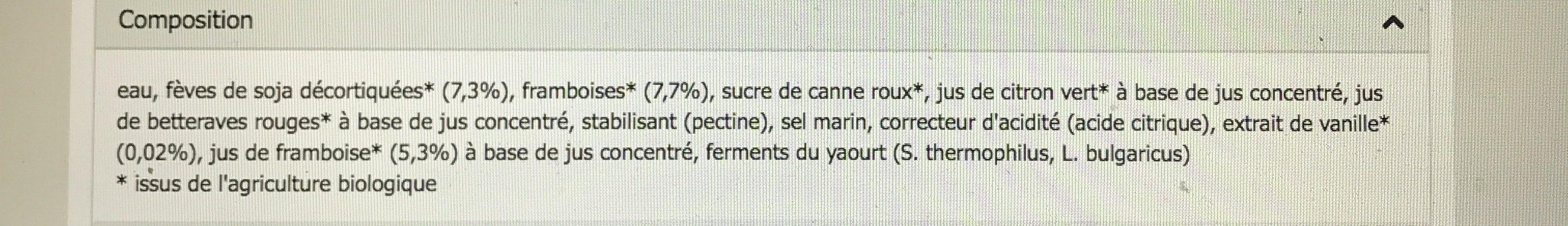 SOYA YOFU FRAMBOISE-VANILLE - Ingredients