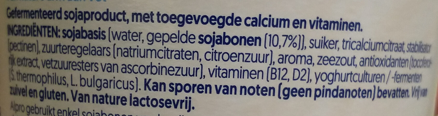 Simply plain - soya yogurt - Ingrediënten - nl