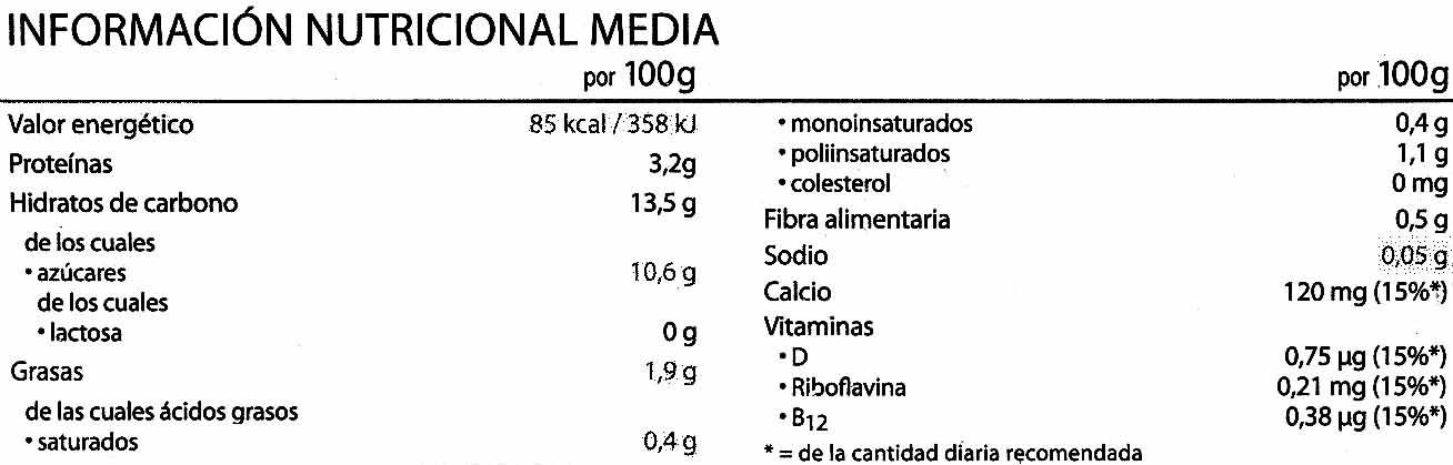 Postre de soja vainilla - Información nutricional - es