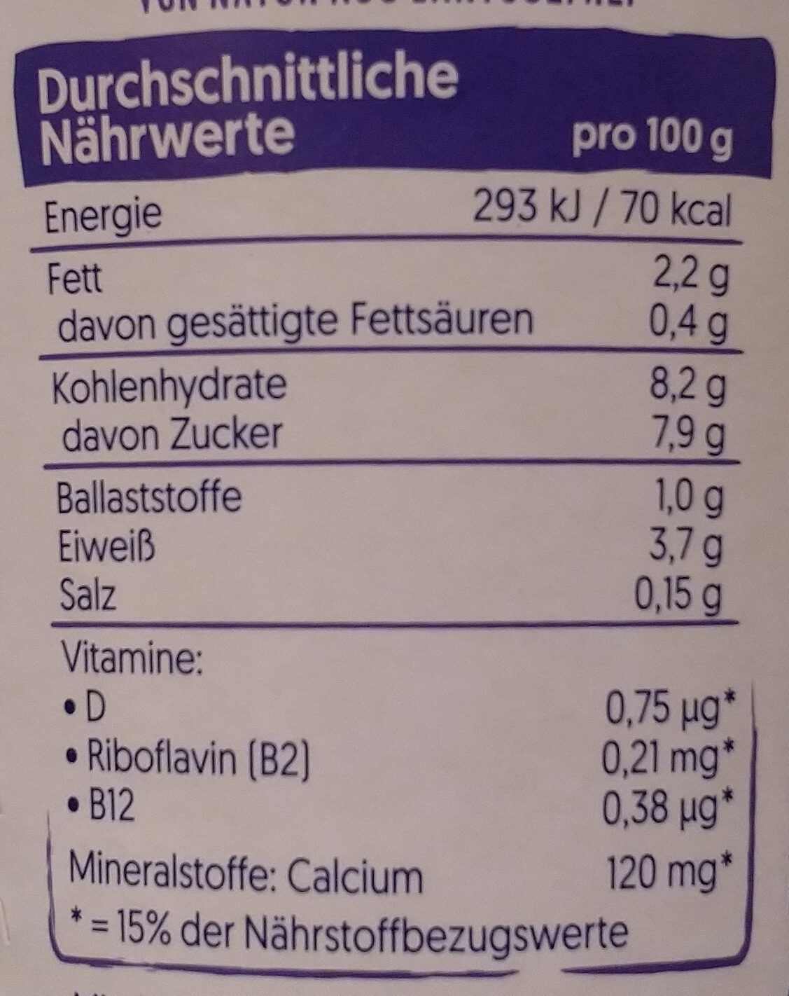 Sojajoghurt Heidelbere - Nutrition facts - de