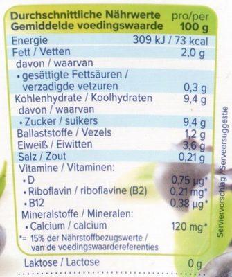 alpro Heidelbeere - Nährwertangaben