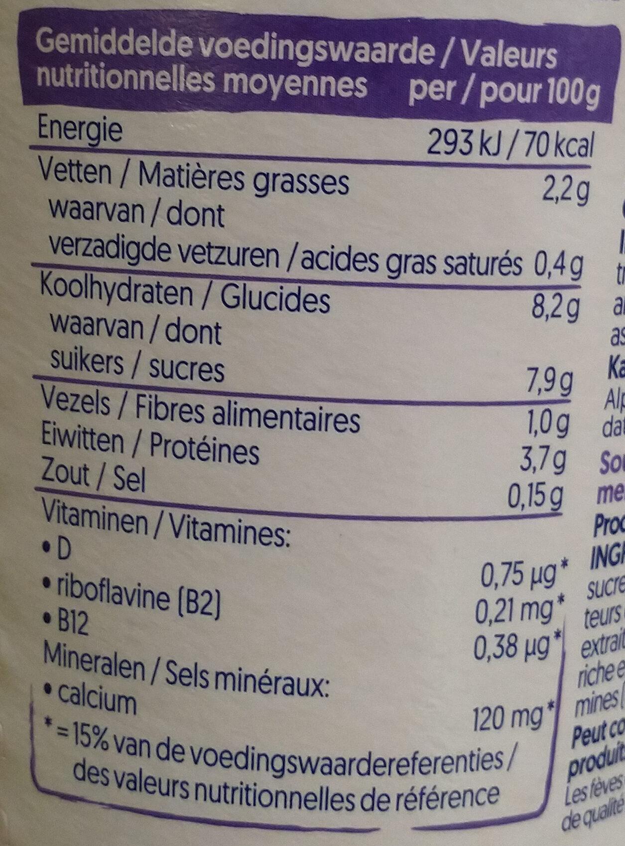 Sojajoghurt Heidelbere - Voedingswaarden - nl