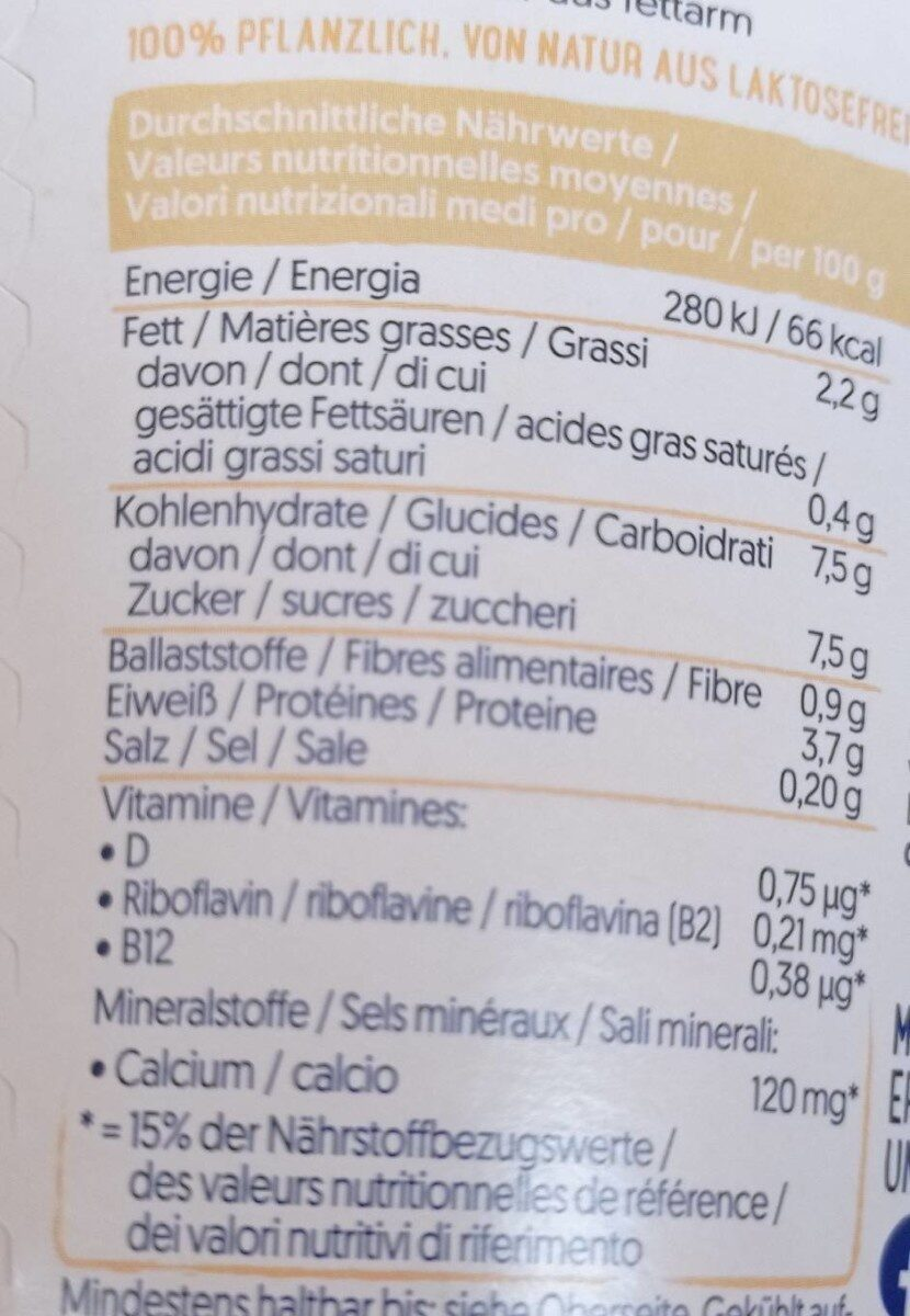 Alpro Soya Vanille Geschmack - Nutrition facts - de