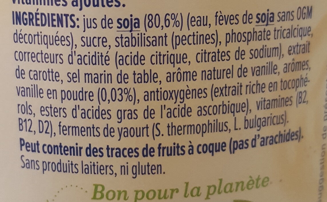 Vanille - Ingredients