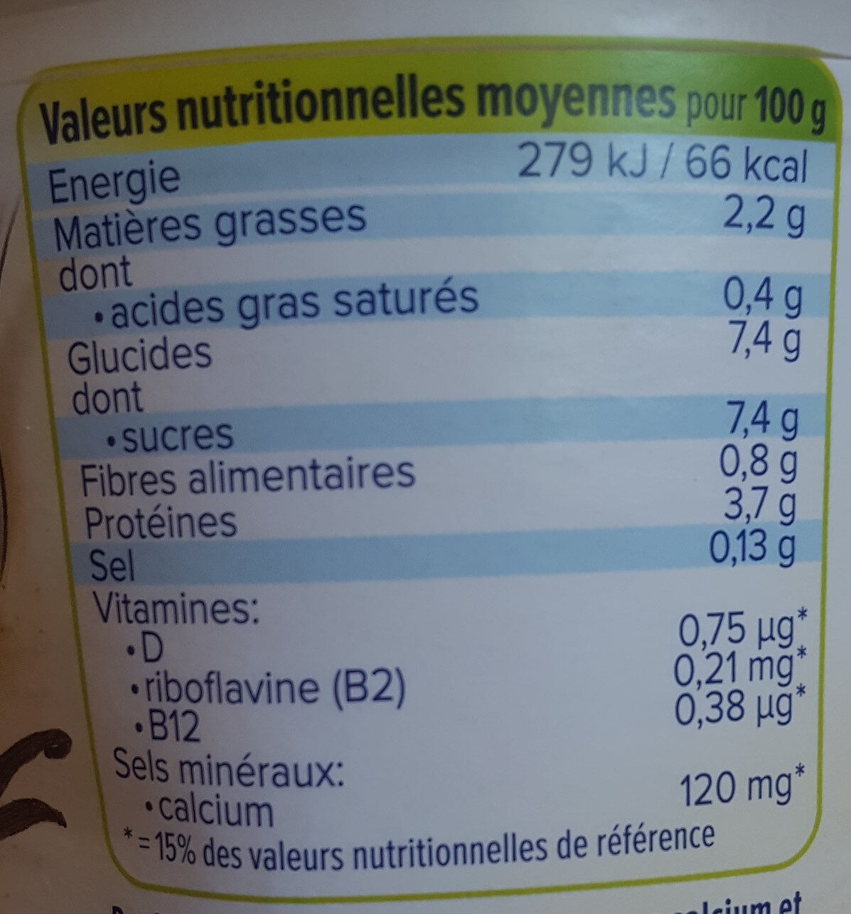 Vanille - Informations nutritionnelles