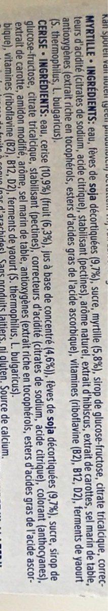Yaourt au soja cerise et myrtille - Ingrédients