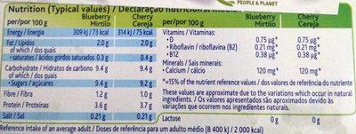 Yaourt au soja cerise et myrtille - Nutrition facts - en