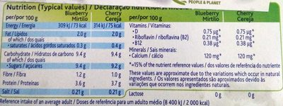 Soja myrtille cerise - Nutrition facts - en