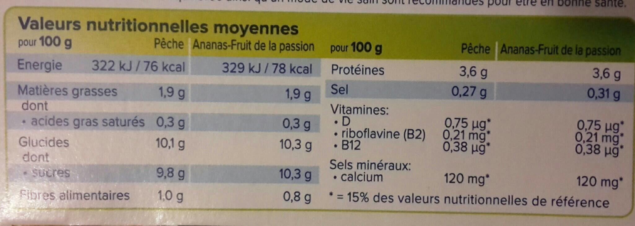Yaourt au soja saveur pêche/fruits exotiques - Informations nutritionnelles